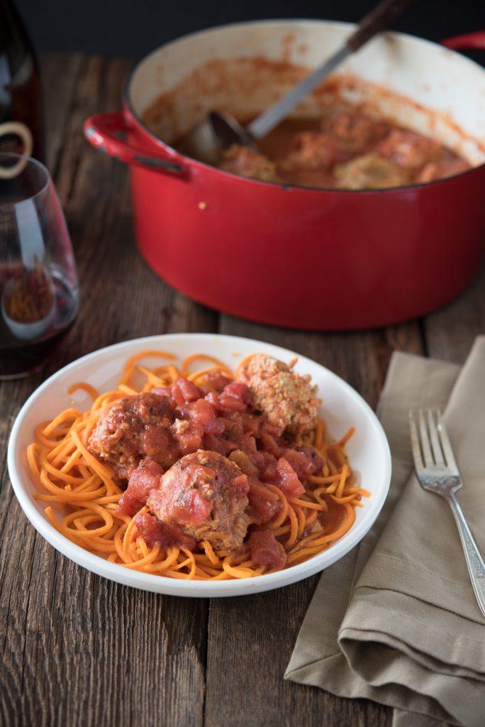 Turkey Meatballs Braised in Tomato Sauce Recipe