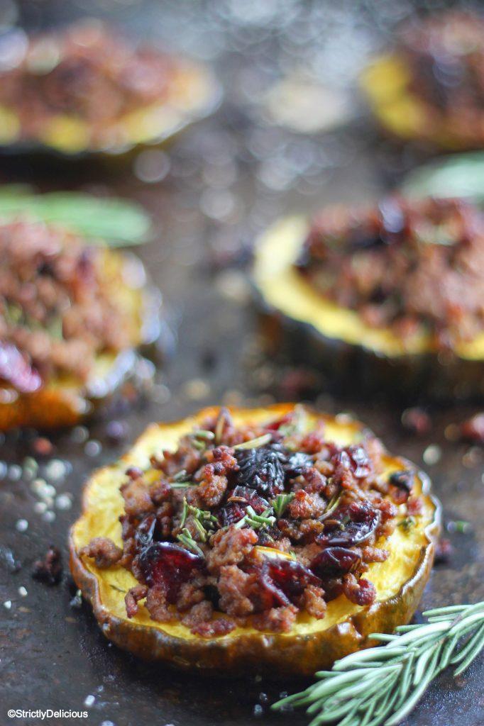 Paleo Cranberry & Beef Stuffed Acorn Squash Recipe