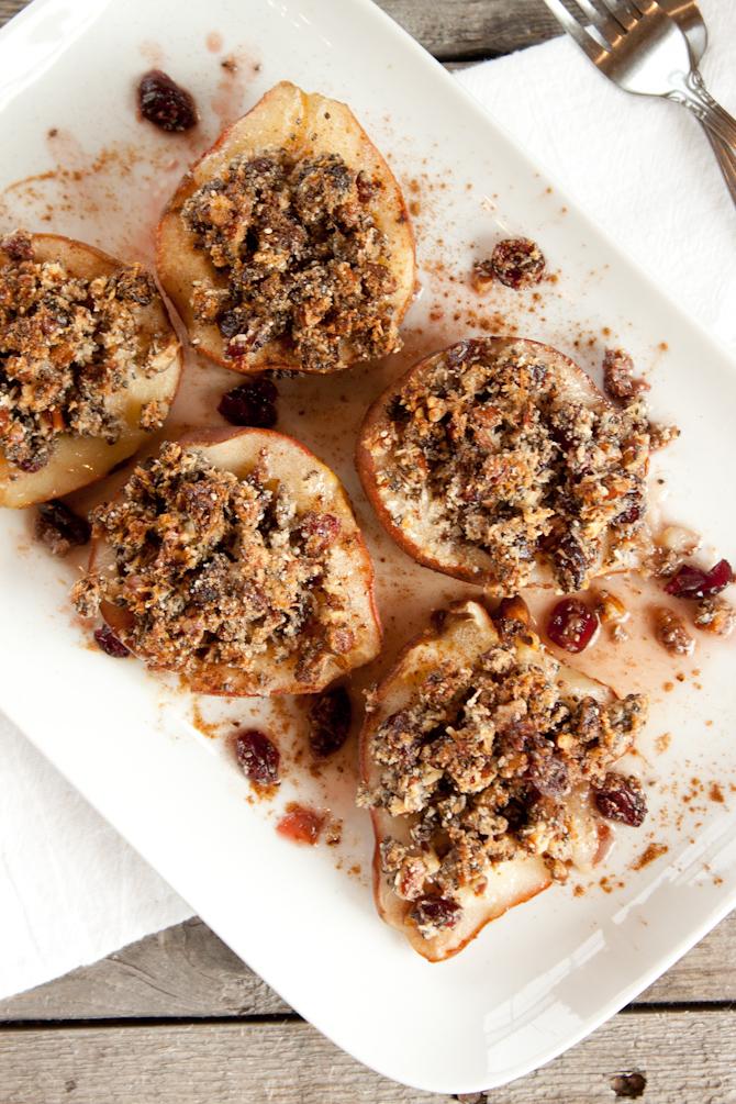 Cranberry Crisp Stuffed Pears
