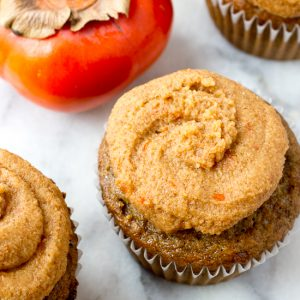 Olive Oil Spice Cupcakes with Bourbon Persimmon Frosting