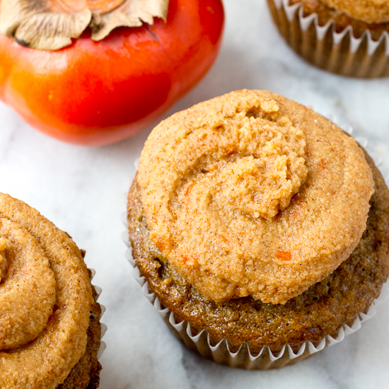 Olive Oil Spice Cupcakes with Bourbon Persimmon Frosting Recipe