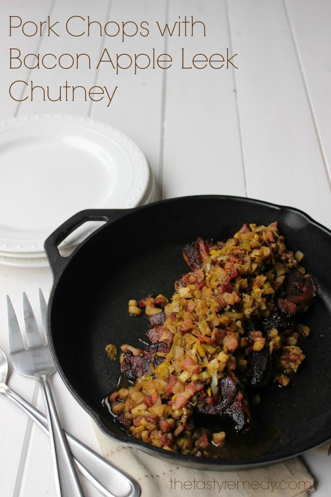 Pork Chops with Bacon Apple Leek Chutney - Primal Palate   Paleo ...
