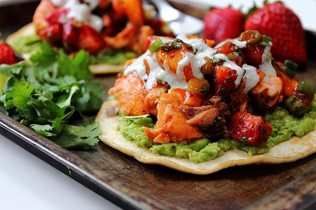 Salmon Tostadas by Peachy Palate