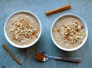 Creamy Macadamia Apple and Cinnamon Porridge