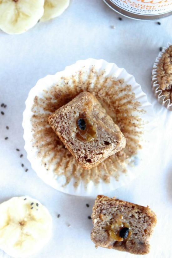 Mango, Passionfruit and Chia Jam Filled Banana Muffins Recipe