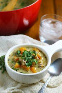 Creamy Chicken and Cauliflower Rice Soup