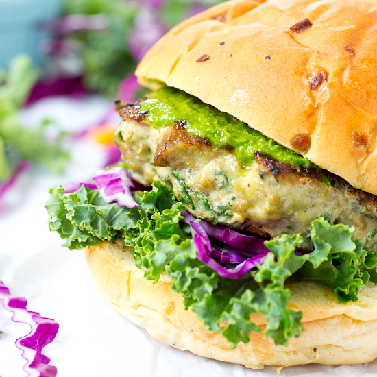 Portabello Mushroom and Kale Turkey Burgers with Zesty Cabbage Kale Slaw Recipe