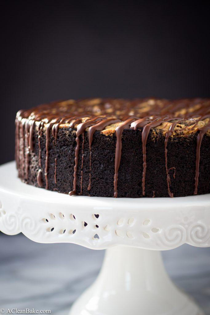 Deep Dish Dark Chocolate Cake with Almond Butter Swirl Recipe