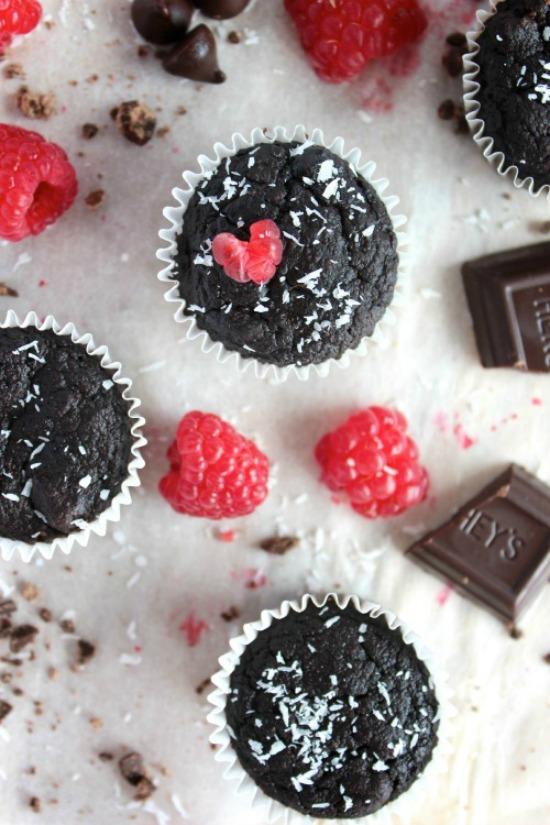 Double Chocolate Raspberry Coconut Fudge Muffins Recipe