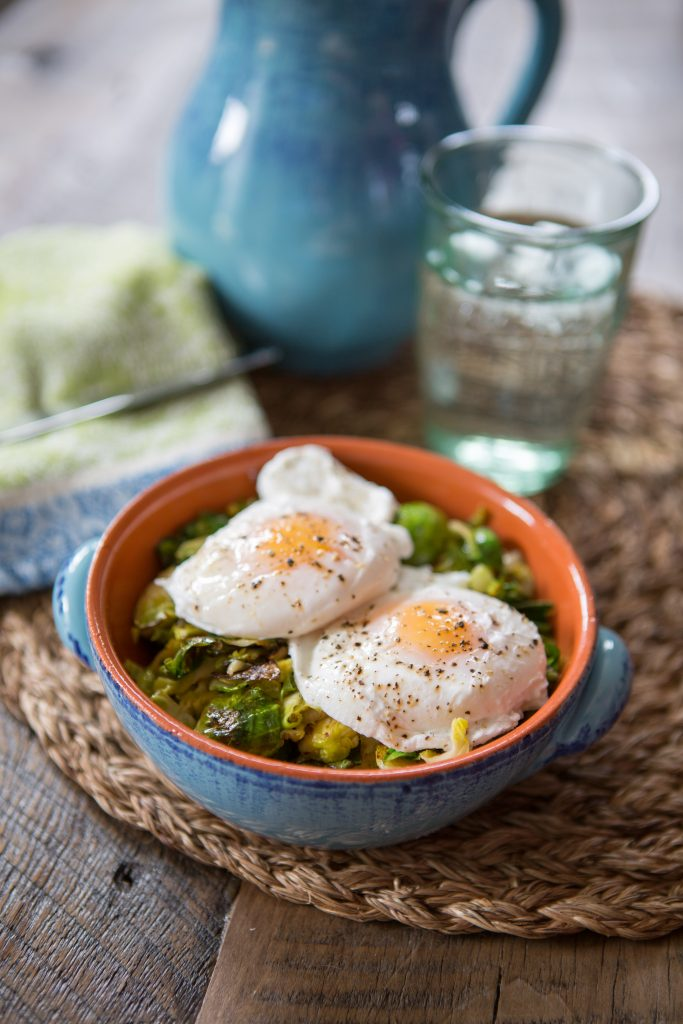 Poached Eggs with Garlicky Sprouts Recipe