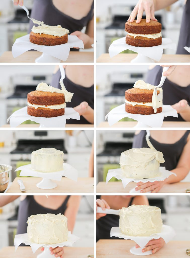 Carrot Cake Layer Assembly Process