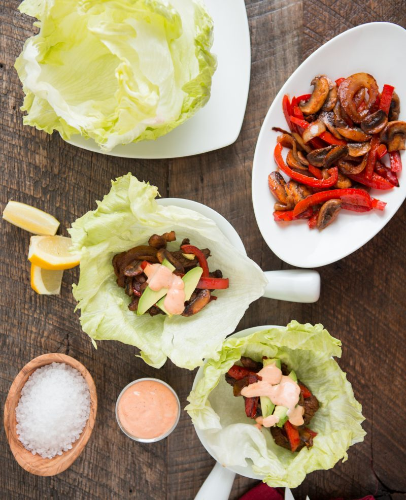 Fajita Lettuce Wraps with Chipotle Aioli