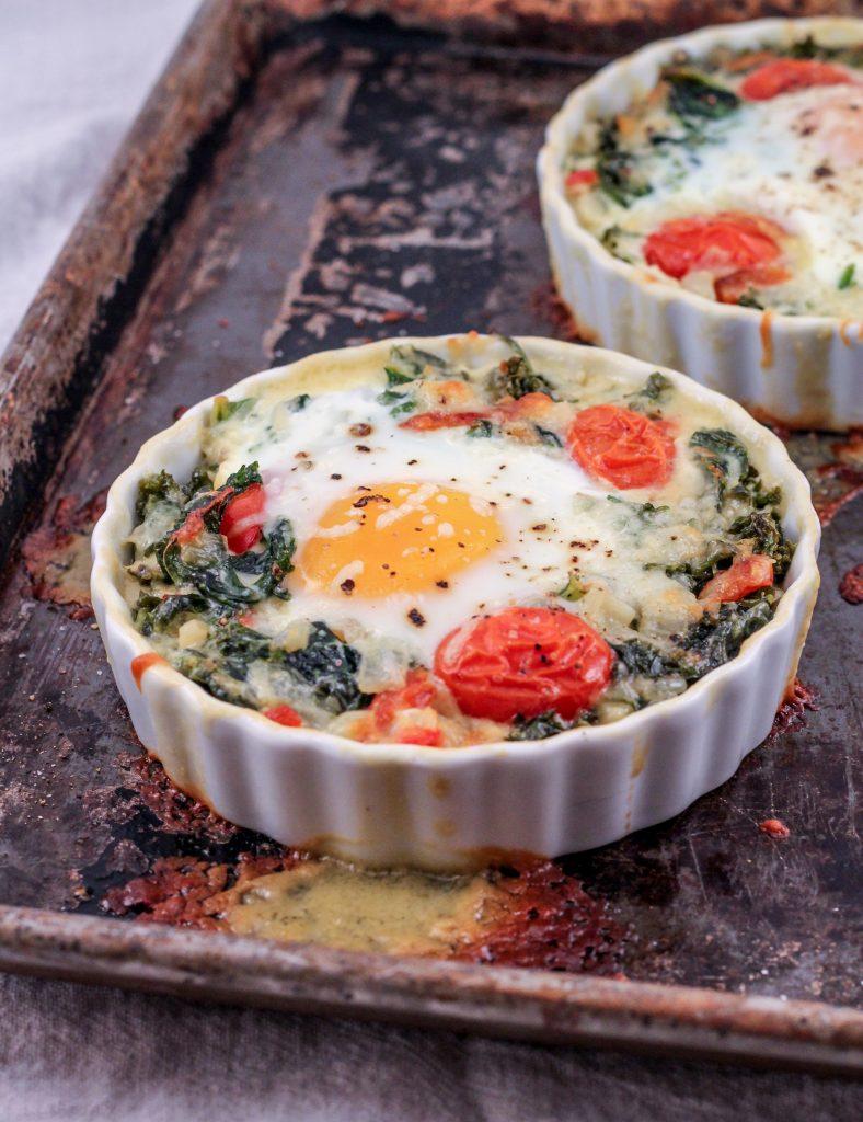 Creamy Kale Baked Eggs