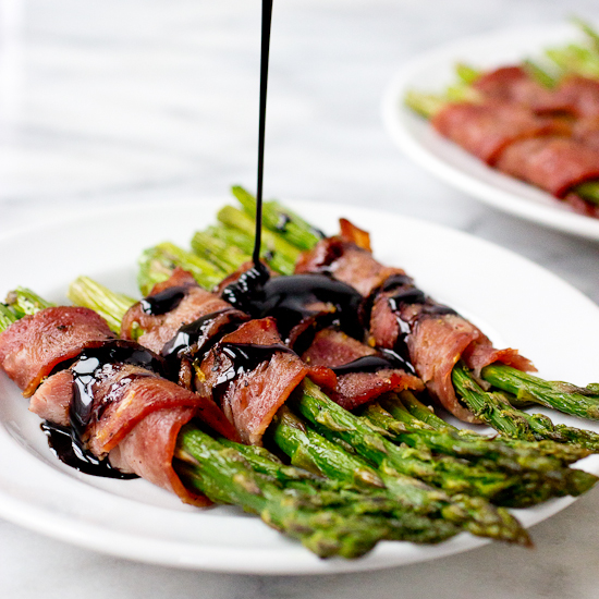 Bacon Wrapped Asparagus with Homemade Lemon Balsamic Drizzle Recipe