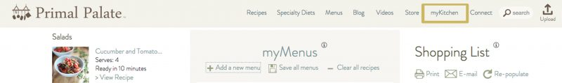 myKitchen on the Primal Palate menu bar