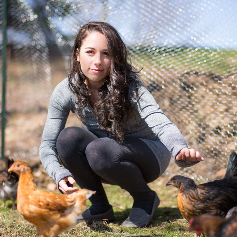 Hayley with the backyard chickens