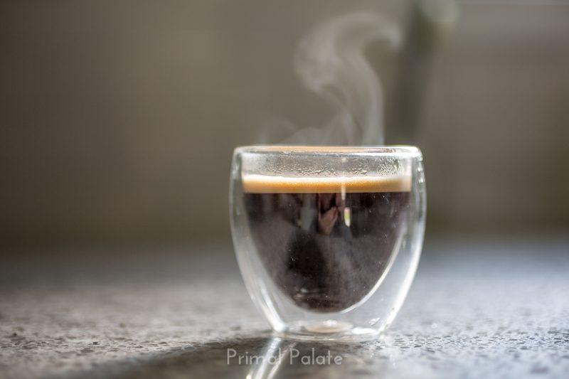 steaming espresso shot