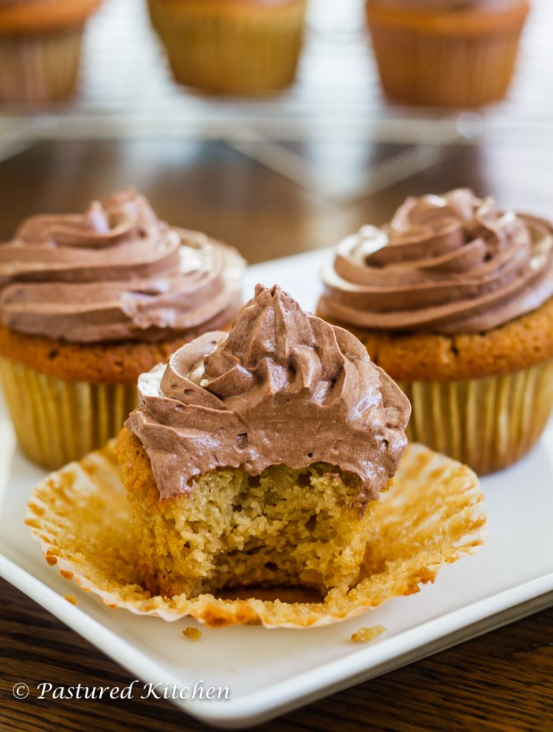 Honey Vanilla Paleo Cupcakes with Chocolate Frosting