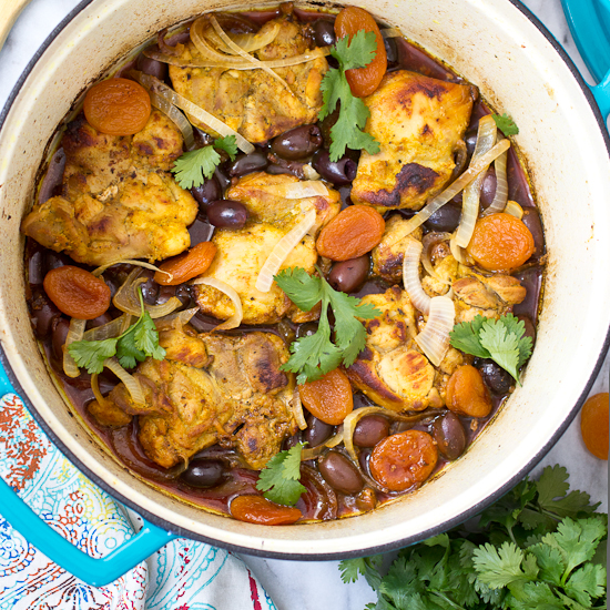 Braised Turmeric Chicken With Apricots And Olives Recipe