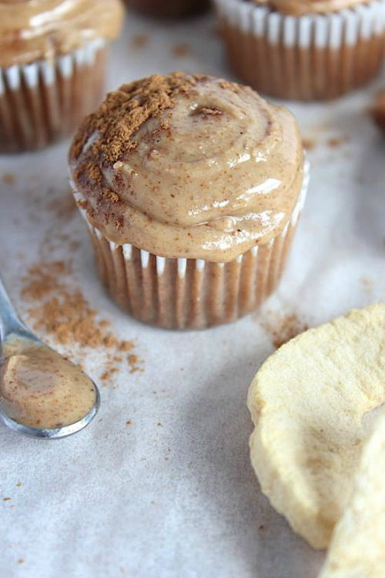 "Apple & Cinnamon Mini Muffins with Maple-Vanilla Almond Butter ""Frosting"" Recipe"