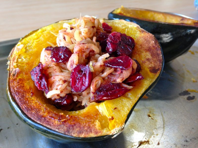 Acorn Squash Stuffed with Spiralized Spiced Apples Recipe