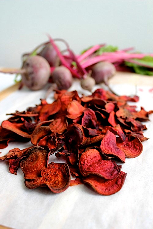 Healthy Homemade Oven Baked Beet Chips Recipe
