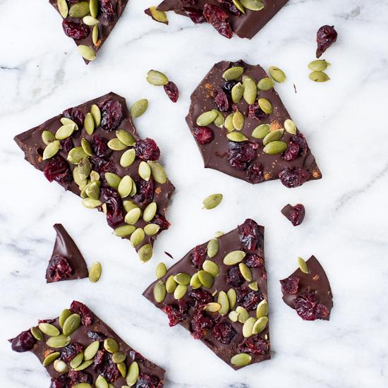 Cranberry Pumpkin Seed Dark Chocolate Bark Recipe