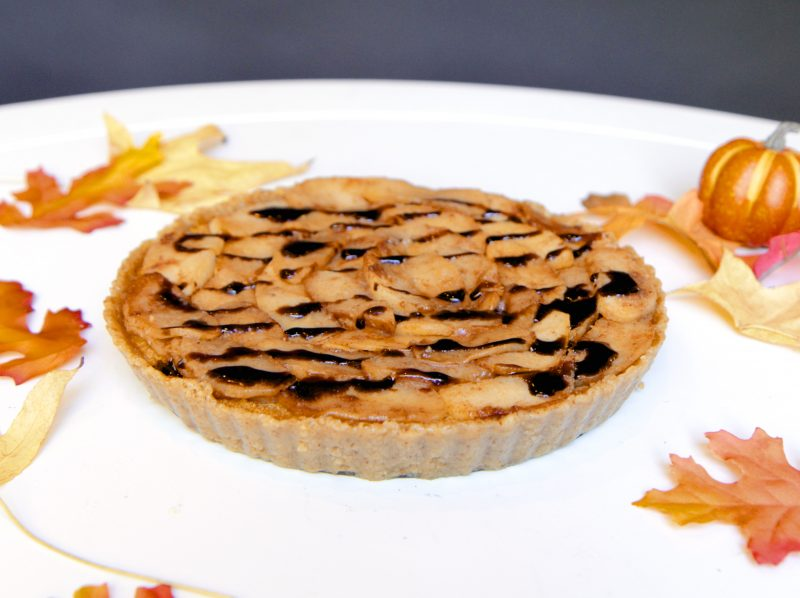 Pumpkin Pie with a Walnut Crust, Caramelized Apples, and Maple-Balsamic Drizzle Recipe