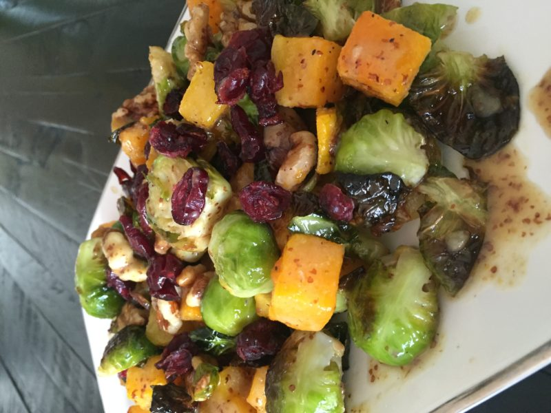 Sweet and savory butternut squash and brussel sprouts Recipe