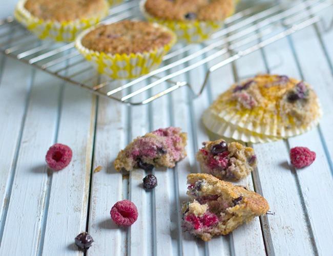 Banana, Blueberry and Raspberry Muffins Recipe