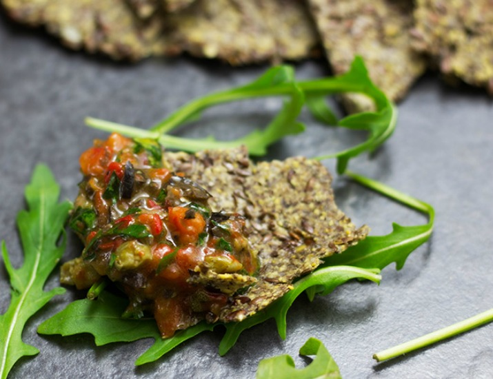Paleo Crackers with Red Pepper Tapenade Recipe