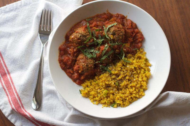 Harissa Lamb Meatballs with Turmeric Fried Cauliflower Rice Recipe