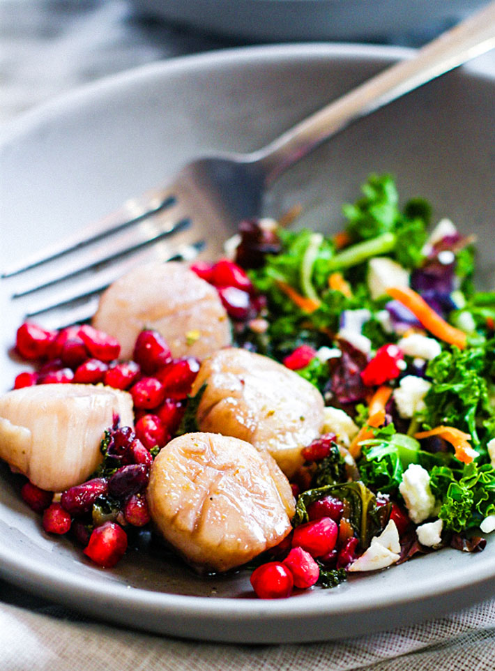 Maple Balsamic-Glazed Scallops with Pomegranate Recipe