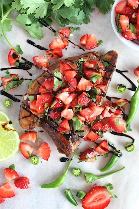 Balsamic Chicken with a Sweet and Spicy Strawberry Salsa Recipe