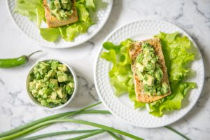 Grilled Adobo Salmon Salad with Avocado Salsa