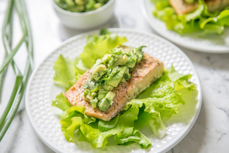 Adobo Salmon Salad with Avocado Salsa Recipe
