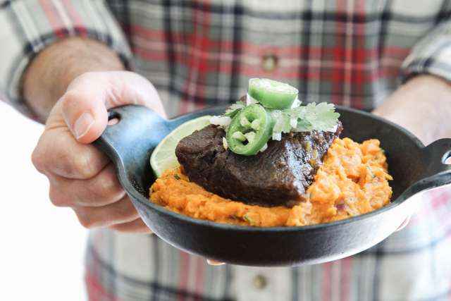 Beef Short Ribs with Chipotle Smashed Sweet Potatoes Recipe