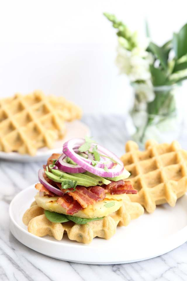 Bacon, Grilled Pineapple and Jalapeno Waffle Sliders Recipe