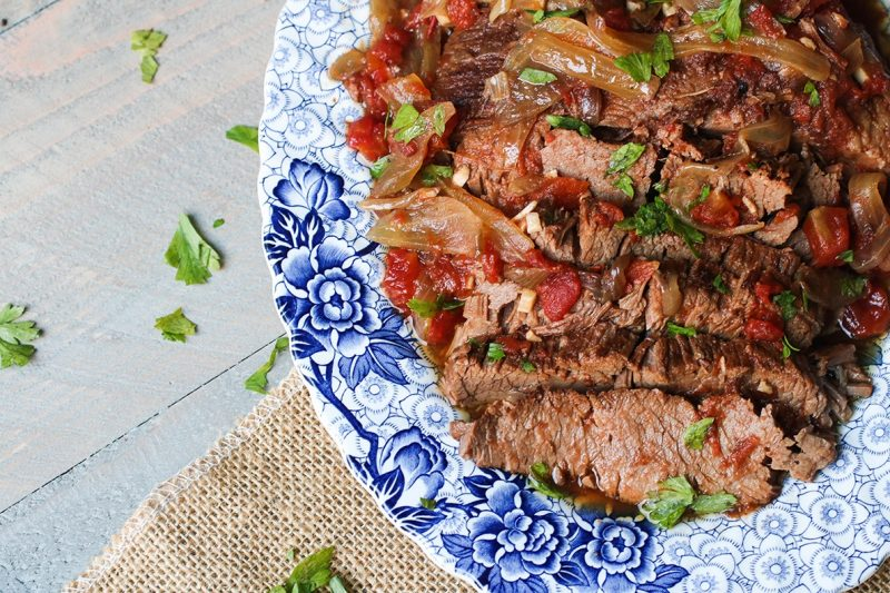 Paleo Slow Cooker Beef Brisket with Tomatoes and Onions Recipe