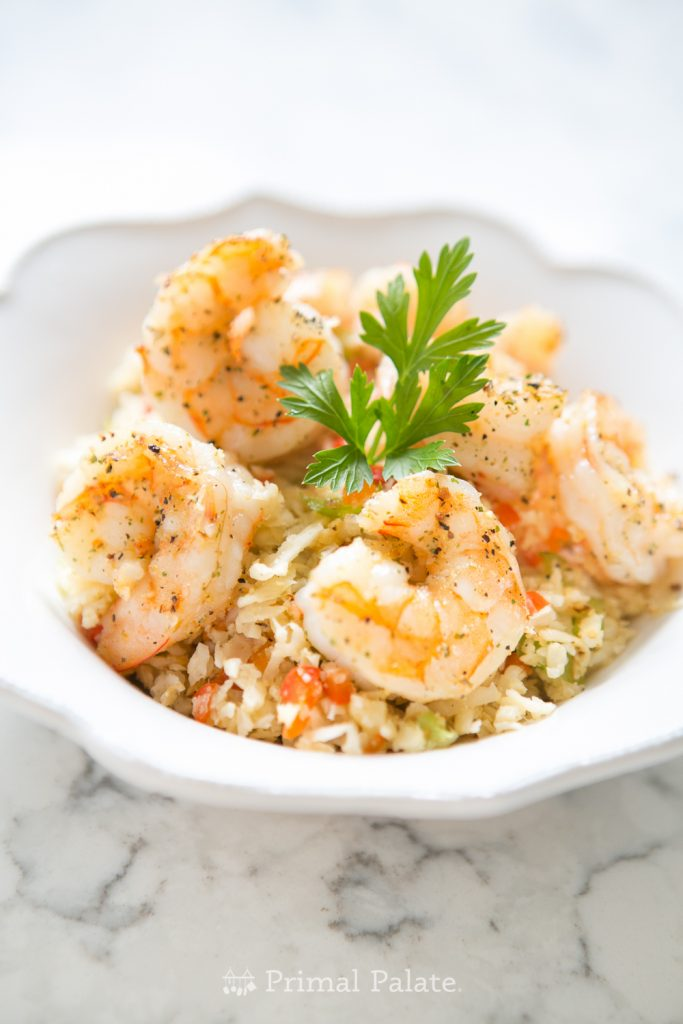Pan Fried Shrimp with Vegetable Cauliflower Rice Recipe