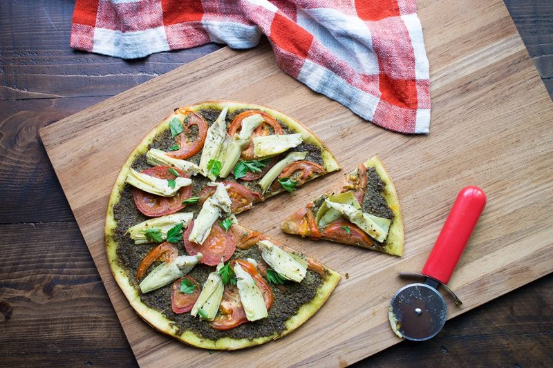 Gluten and Dairy Free Pesto Flatbread Pizza Recipe