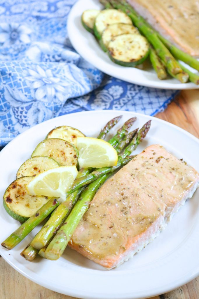 Honey Mustard Glazed Salmon with Marinated Vegetables Recipe