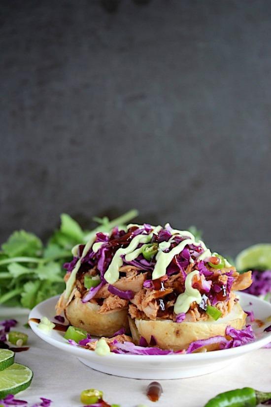 BBQ Chicken & Green Chili Loaded Potatoes Recipe