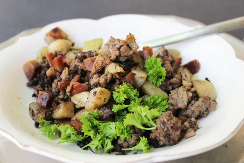 Chayote Cucumber Sausage Hash Recipe