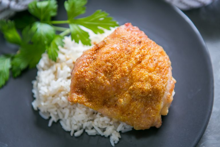 Curry Baked Chicken Thighs with Masala Rice