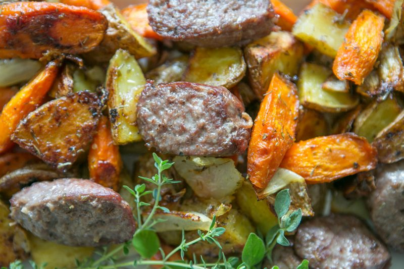 Roasted Root Vegetables with Sausage - Primal Palate ...