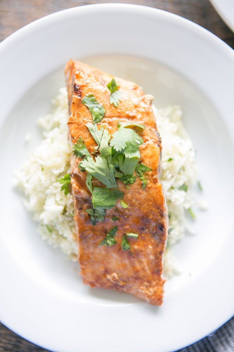 Super-easy Whole30 Dinner: Spicy Grilled Salmon with Cilantro Lime Cauliflower Rice