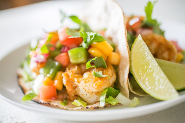 Jerk Shrimp Tacos with Pomegranate Mango Salsa
