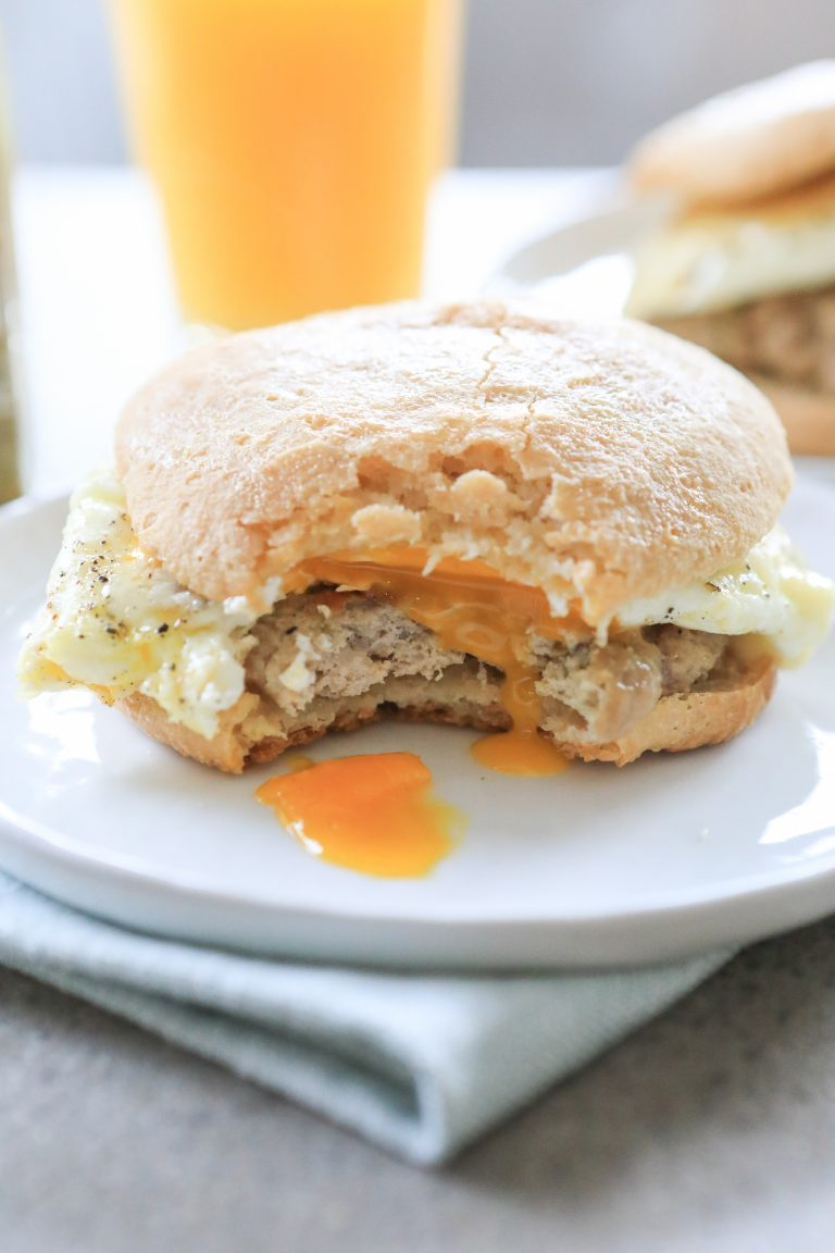 Grain-Free Sausage, Egg, and Cheese Breakfast Sandwich