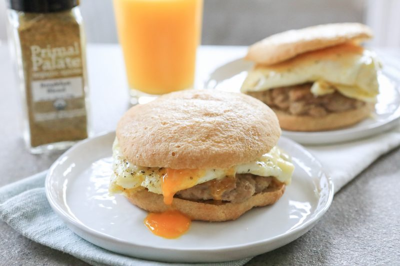 Grain Free Sausage Egg And Cheese Breakfast Sandwich Primal